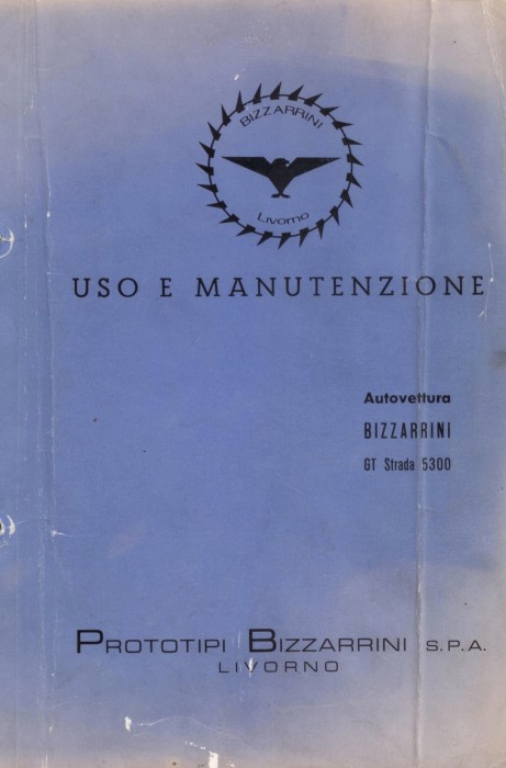 Bizzarrini GT 5300 Owner's Manual Cover