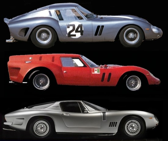 From Top to Bottom: Ferrari 250 GTO, Ferrari 250 Breadvan, Bizzarrini GT 5300 Strada