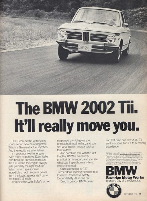 BMW 2002 tii advertisement