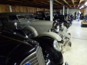 Old cars in a garage